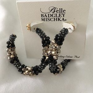 NWT Badgley Mischka bead hoop earrings